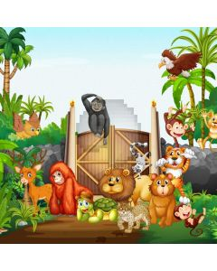 Cartoon Animal Forest Computer Printed Photography Backdrop ABD-429