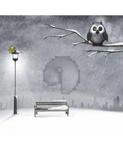 Bird Branches Bench Snow Computer Printed Photography Backdrop ABD-442