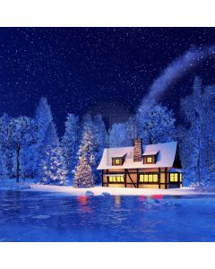 Snow Fir House Computer Printed Photography Backdrop ABD-499