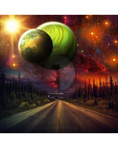 Sun Planet Road Tree Computer Printed Photography Backdrop ABD-526
