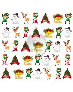 Snowman Deer Santa Computer Printed Photography Backdrop ABD-534