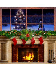 Christmas Snowman Sock Mistletoe Computer Printed Photography Backdrop ABD-552