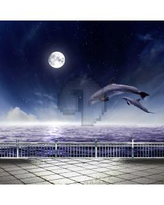 Rail Dolphin Fullmoon Computer Printed Photography Backdrop ABD-587