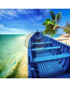 Seaside Palm Tree Sunlight Ship Computer Printed Photography Backdrop ABD-603