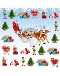 Reindeer Santa Fir Tree Computer Printed Photography Backdrop ABD-625
