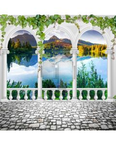 Pillars Leaves Floor Lake Computer Printed Photography Backdrop ABD-632