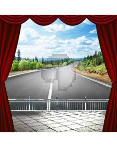 Road Red Curtain Floor Plant Computer Printed Photography Backdrop ABD-633
