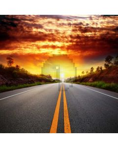 Road Sunset Hill Computer Printed Photography Backdrop ABD-640