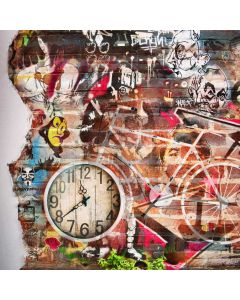 Graffiti Bicycle Clock Computer Printed Photography Backdrop ABD-647
