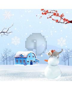 Snowman Animal Shack Plum Blossom Computer Printed Photography Backdrop ABD-664