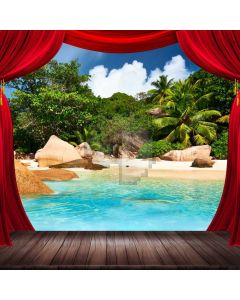 Nature Seawater Palm Tree Red Curtain Computer Printed Photography Backdrop ABD-665