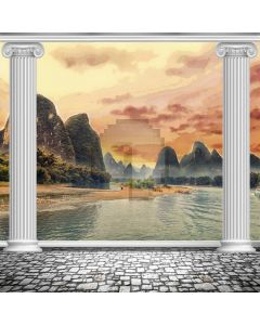 Pillars Hills Seawater Computer Printed Photography Backdrop ABD-669