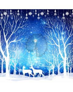 Snow Tree Deer Computer Printed Photography Backdrop ABD-670