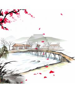 Plum Blossom Bridge Man Computer Printed Photography Backdrop ABD-674