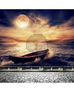 Sunfall Ship Fullmoon Computer Printed Photography Backdrop ABD-683