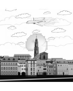 Aircraft City Cloudy Weather Computer Printed Photography Backdrop ABD-689