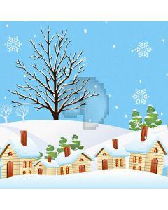 Fir House Snowflake Computer Printed Photography Backdrop ABD-696