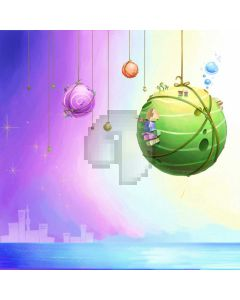 Green Ball Purple Ball Computer Printed Photography Backdrop ABD-703
