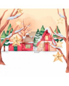 Snow Cabin Branch Computer Printed Photography Backdrop ABD-727