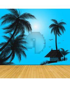 Seaside Palm Tree Floor Computer Printed Photography Backdrop ABD-729