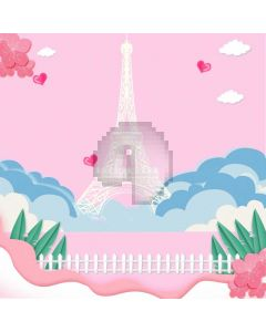 Eiffel Tower Fence Grass Computer Printed Photography Backdrop ABD-739