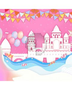 Birthday Pink Castle Computer Printed Photography Backdrop ABD-746