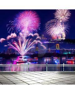 Firework Bridge River Computer Printed Photography Backdrop ABD-756