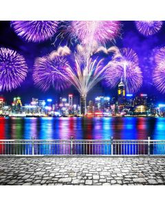 Firework Colors River Computer Printed Photography Backdrop ABD-769
