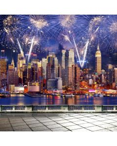 New Year Firework City Computer Printed Photography Backdrop ABD-773