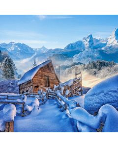 Snow Shack Fence Mountain Computer Printed Photography Backdrop ABD-775