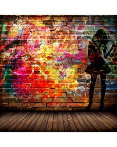 Graffiti Girl Wodden Floor Computer Printed Photography Backdrop ABD-777