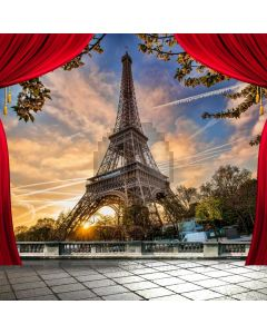 Eiffel Tower Red Curtain Sky Computer Printed Photography Backdrop ABD-781
