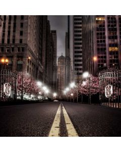 City Street Tree Light Computer Printed Photography Backdrop ABD-784
