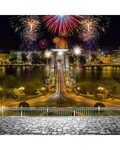 New Year Fireworks River Computer Printed Photography Backdrop ABD-791
