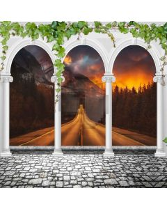 Arch Pillar Road Sunset Computer Printed Photography Backdrop ABD-807