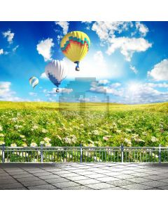 Flower Balloon Rail Floor Computer Printed Photography Backdrop ABD-810