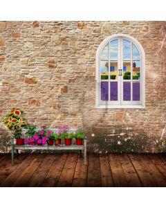 Window Lanvender Flower Computer Printed Photography Backdrop ABD-818