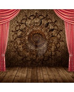 Red Curtain Wooden Floor Computer Printed Photography Backdrop ABD-820