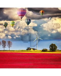 Flower Field Balloon Windmill Computer Printed Photography Backdrop ABD-848