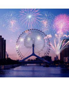 Fireworks Bridge Rivers Computer Printed Photography Backdrop ABD-852