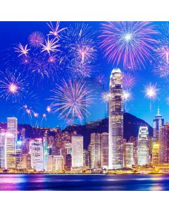 Firework Office Tower Computer Printed Photography Backdrop ABD-857