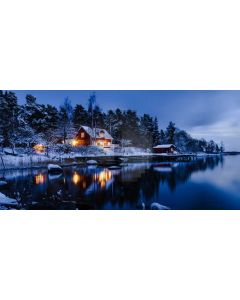 Cabin Water Light Tree Computer Printed Dance Recital Scenic Backdrop ACP-1019