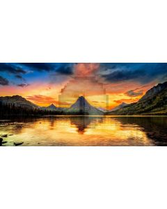 Mountain Water Cloud Sky Computer Printed Dance Recital Scenic Backdrop ACP-1030
