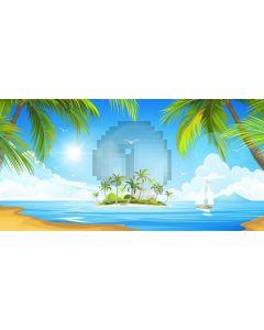 Sea Tree Bird Sky Computer Printed Dance Recital Scenic Backdrop ACP-1103