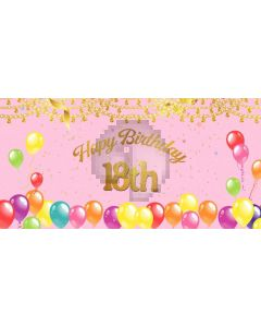 Birthday Pink Computer Printed Dance Recital Scenic Backdrop ACP-1177