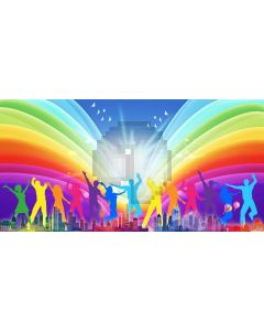 People Colours Computer Printed Dance Recital Scenic Backdrop ACP-1193