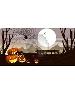 Pumpkin Lantern Spider Moon Computer Printed Dance Recital Scenic Backdrop ACP-1251