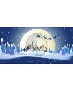 Santa Claus Reindeer Fir Snow Computer Printed Dance Recital Scenic Backdrop ACP-1256