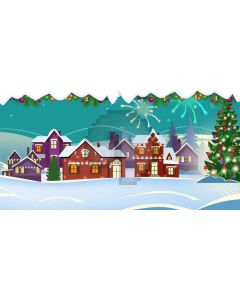 House Fireworks Snow Computer Printed Dance Recital Scenic Backdrop ACP-1261