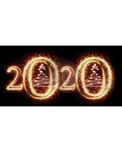 Golden 2020 Christmas Tree Computer Printed Dance Recital Scenic Backdrop ACP-1296